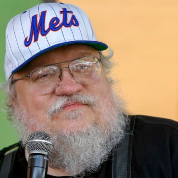 """IMAGE DISTRIBUTED FOR MARRIOTT - Author, George R. R. Martin (""""A Game of Thrones"""") appearance at Courtyard's Super Hero HQ at Comic-Con on Sunday, July 27th, 2014 in San Diego, CA. (Photo by Christy Radecic/Invision for Courtyard by Marriott/AP Images)"""